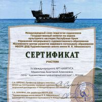 Мамонтова Анастасия сертификат