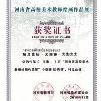 Сертификат о присуждении премии в Китае